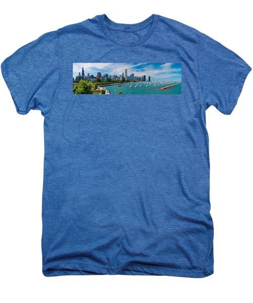 Chicago Skyline Daytime Panoramic Men's Premium T-Shirt by Adam Romanowicz