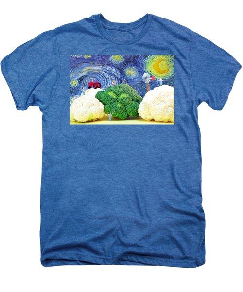 Farming On Broccoli And Cauliflower Under Starry Night Men's Premium T-Shirt
