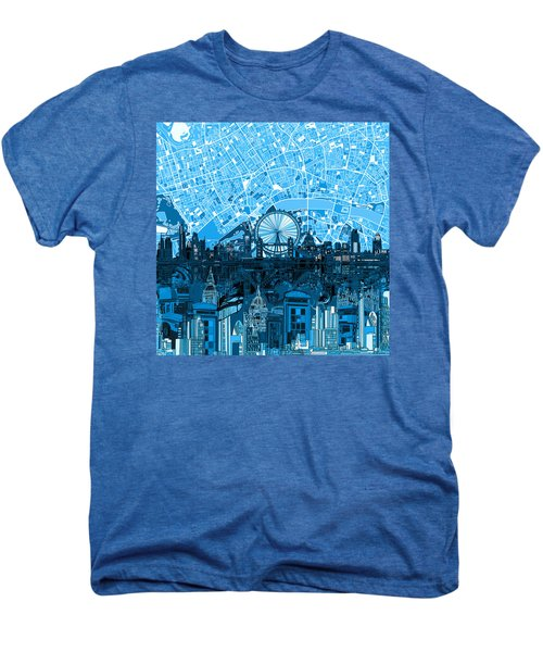 London Skyline Abstract Blue Men's Premium T-Shirt