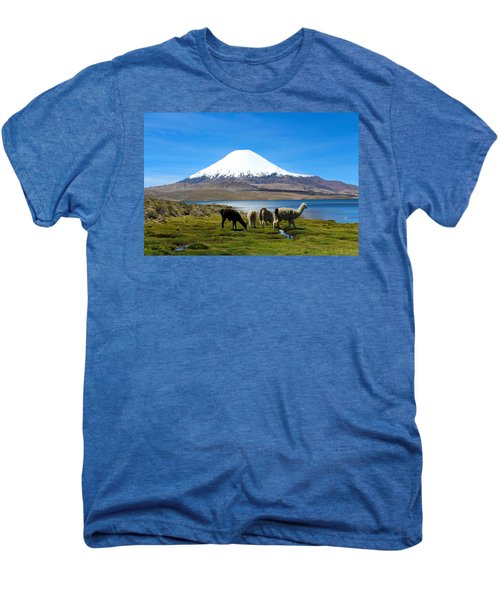Parinacota Volcano Lake Chungara Chile Men's Premium T-Shirt by Kurt Van Wagner