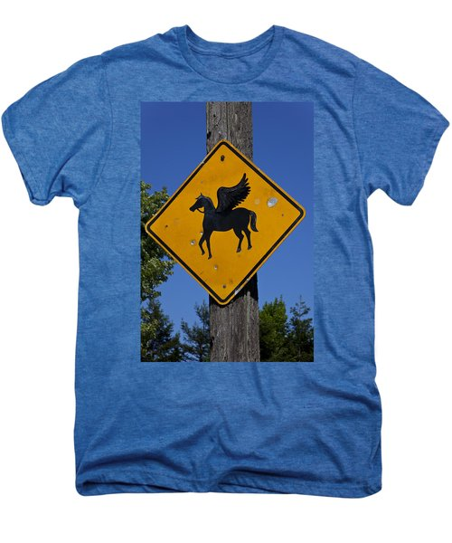 Pegasus Road Sign Men's Premium T-Shirt by Garry Gay