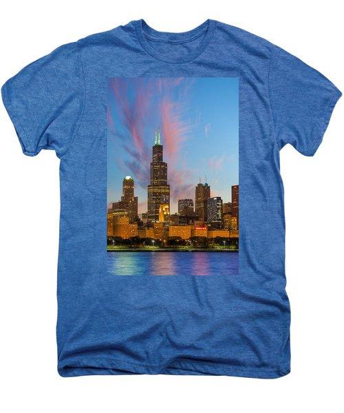 Men's Premium T-Shirt featuring the photograph Sears Tower Sunset by Sebastian Musial