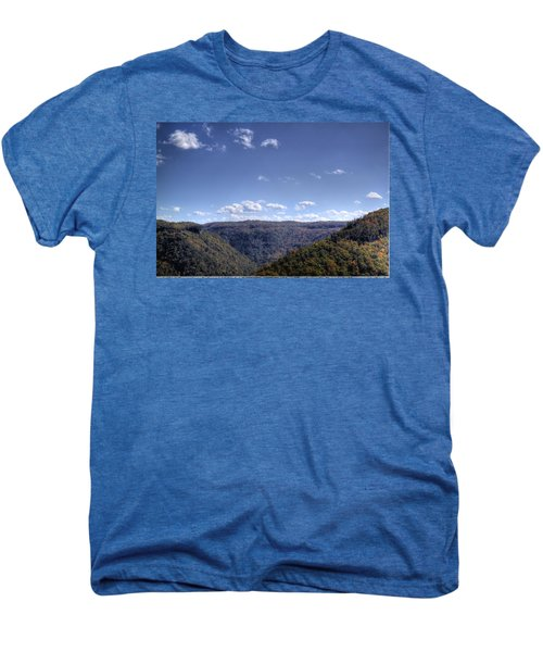 Men's Premium T-Shirt featuring the photograph Wide Shot Of Tree Covered Hills by Jonny D