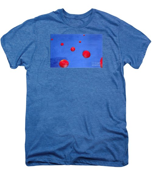 Men's Premium T-Shirt featuring the painting Orbs In Space 1 -- Crossing Paths by Rod Ismay