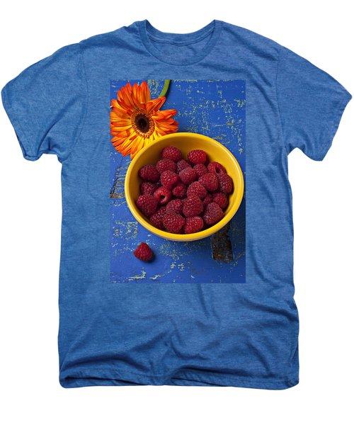 Raspberries In Yellow Bowl Men's Premium T-Shirt