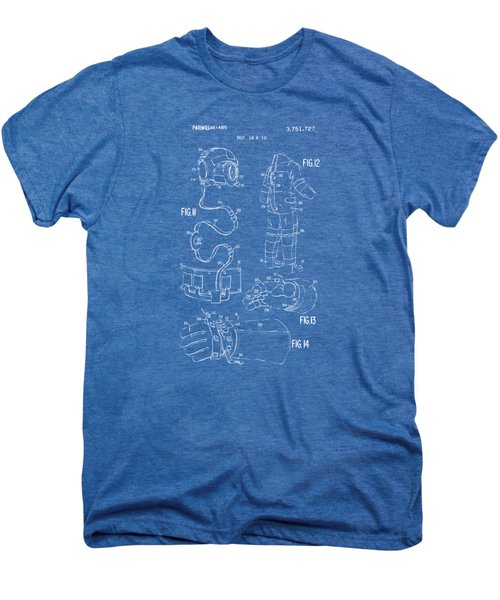 1973 Space Suit Elements Patent Artwork - Blueprint Men's Premium T-Shirt by Nikki Marie Smith
