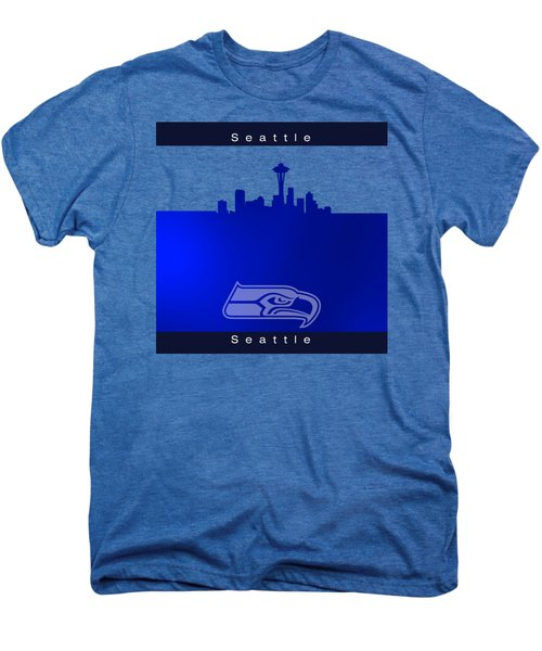 Seattle Seahawks Skyline Men's Premium T-Shirt by Alberto RuiZ