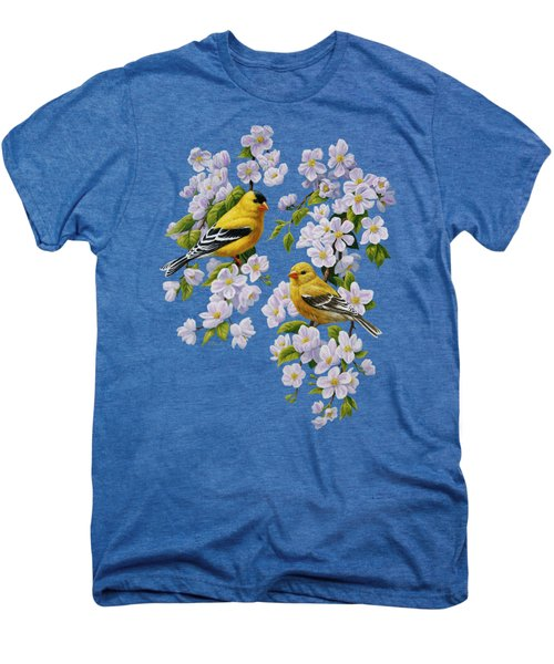 American Goldfinch Spring Men's Premium T-Shirt by Crista Forest