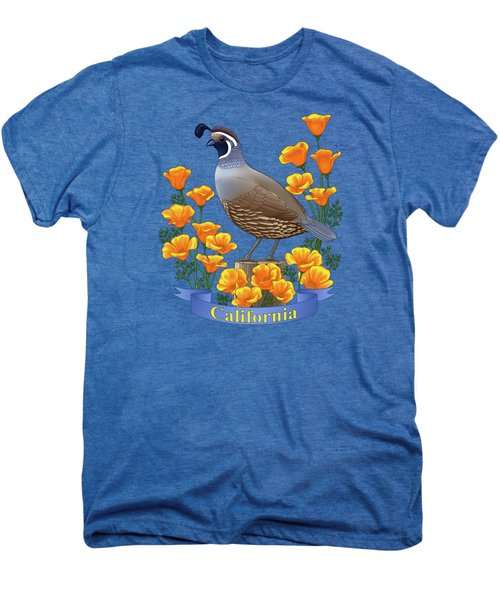 California Quail And Golden Poppies Men's Premium T-Shirt