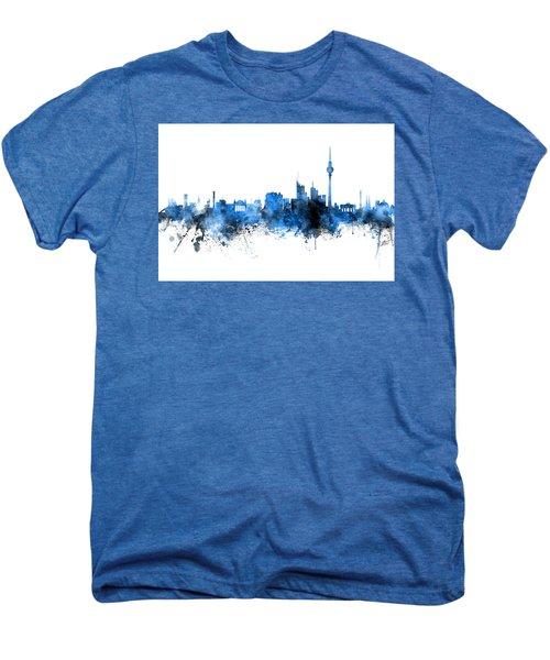 Berlin Germany Skyline Blue Signed Men's Premium T-Shirt
