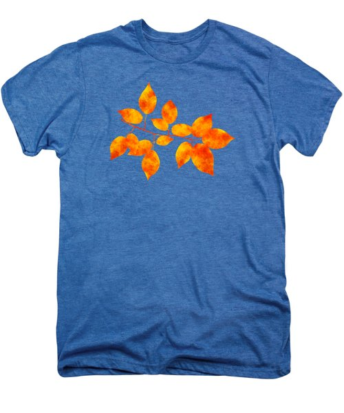 Men's Premium T-Shirt featuring the mixed media Black Cherry Pressed Leaf Art by Christina Rollo