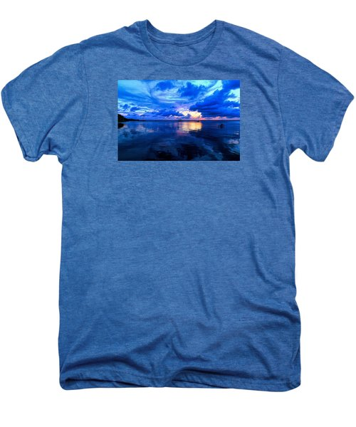 Men's Premium T-Shirt featuring the photograph Blazing Blue Sunset by Anthony Baatz