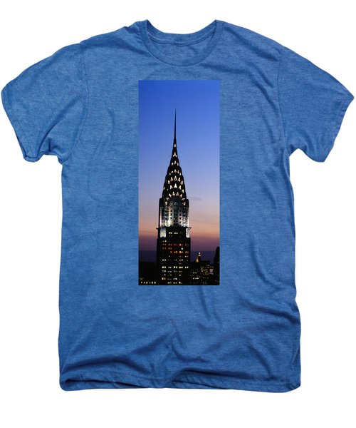 Building Lit Up At Twilight, Chrysler Men's Premium T-Shirt by Panoramic Images