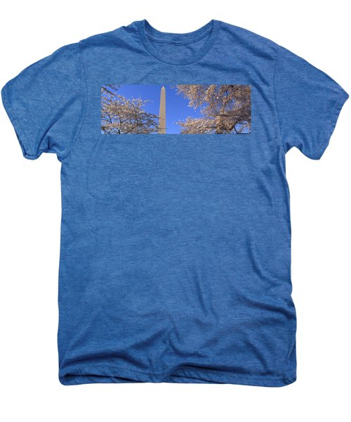 Cherry Blossoms And Washington Men's Premium T-Shirt by Panoramic Images