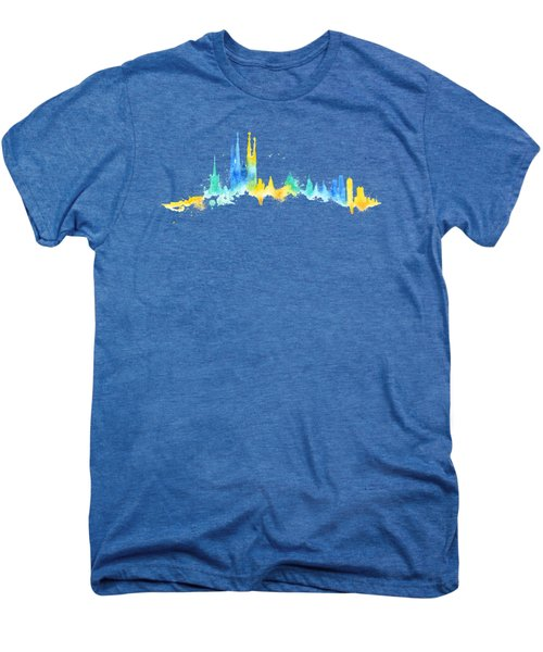 Color Barcelona Skyline 02 Men's Premium T-Shirt by Aloke Creative Store