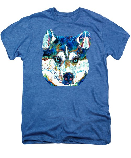 Colorful Husky Dog Art By Sharon Cummings Men's Premium T-Shirt