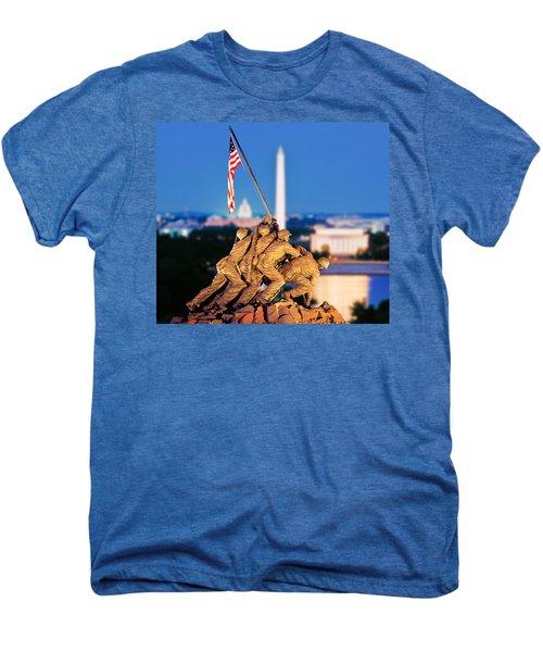 Digital Composite, Iwo Jima Memorial Men's Premium T-Shirt by Panoramic Images