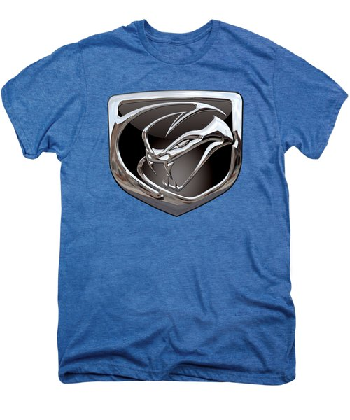 Dodge Viper 3 D  Badge Special Edition On Blue Men's Premium T-Shirt by Serge Averbukh