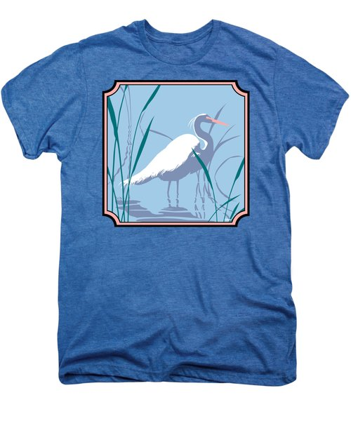 Egret Tropical Abstract - Square Format Men's Premium T-Shirt by Walt Curlee