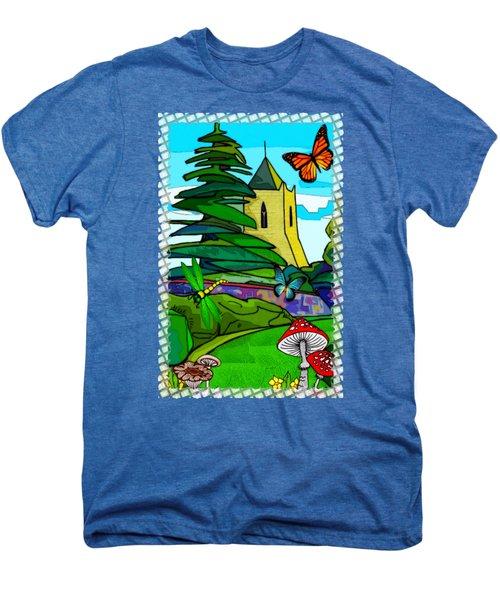 English Garden Whimsical Folk Art Men's Premium T-Shirt by Sharon and Renee Lozen