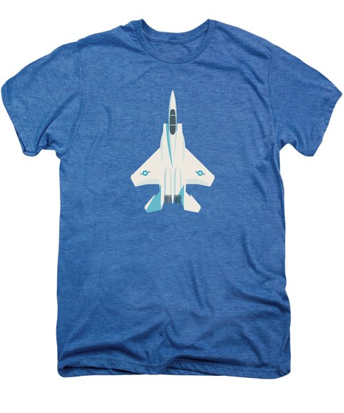 F15 Eagle Fighter Jet Aircraft - Blue Men's Premium T-Shirt