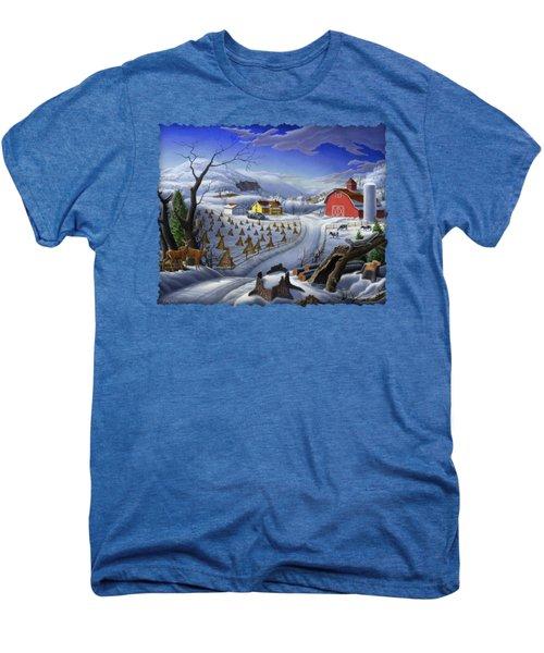 Folk Art Winter Landscape Men's Premium T-Shirt by Walt Curlee