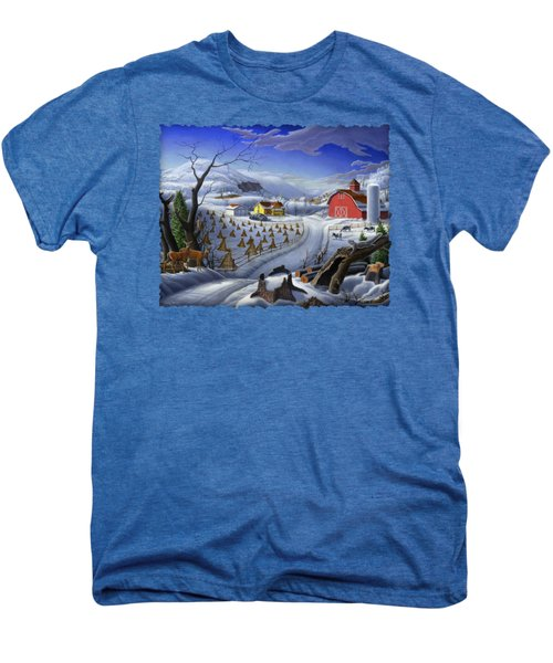 Folk Art Winter Landscape Men's Premium T-Shirt