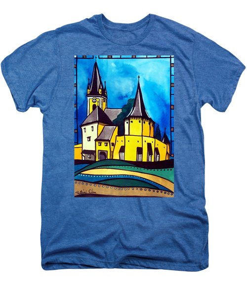 Fortified Medieval Church In Transylvania By Dora Hathazi Mendes Men's Premium T-Shirt by Dora Hathazi Mendes