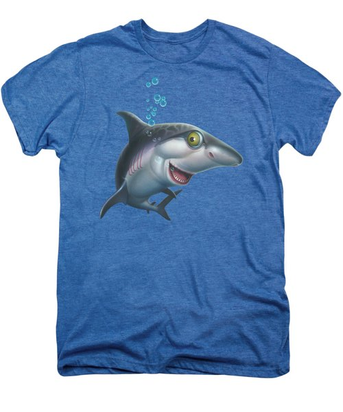 friendly Shark Cartoony cartoon under sea ocean underwater scene art print blue grey  Men's Premium T-Shirt