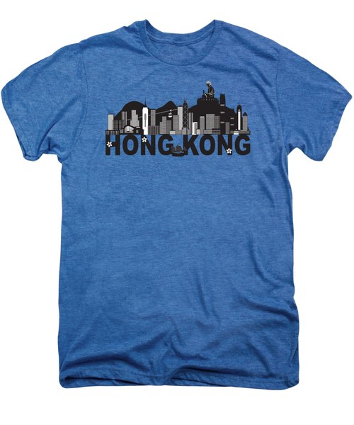 Hong Kong Skyline Buddha Statue Text Black And White Illustration Men's Premium T-Shirt