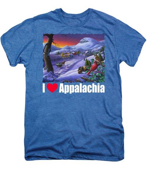I Love Appalachia T Shirt - Small Town Winter Landscape 2 - Cardinals Men's Premium T-Shirt