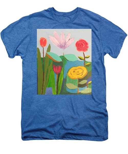 Men's Premium T-Shirt featuring the painting Imagined Flowers One by Rod Ismay