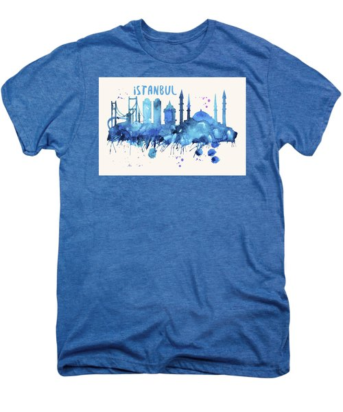 Istanbul Skyline Watercolor Poster - Cityscape Painting Artwork Men's Premium T-Shirt