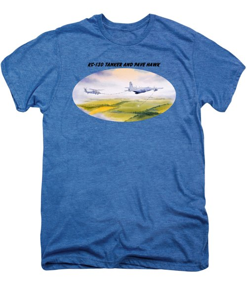 Kc-130 Tanker Aircraft And Pave Hawk With Banner Men's Premium T-Shirt by Bill Holkham