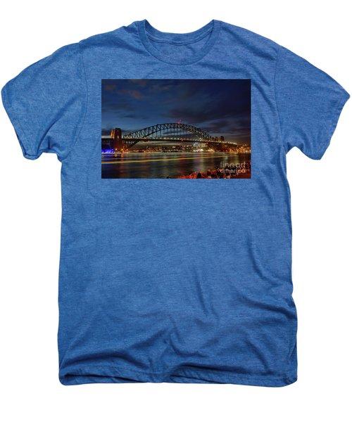 Light Trails On The Harbor By Kaye Menner Men's Premium T-Shirt by Kaye Menner