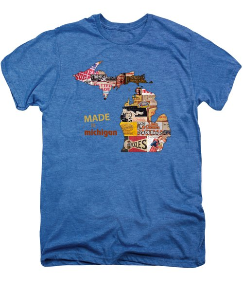 Made In Michigan Products Vintage Map On Wood Men's Premium T-Shirt by Design Turnpike