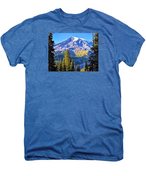 Men's Premium T-Shirt featuring the photograph Mountain Meets Sky by Anthony Baatz