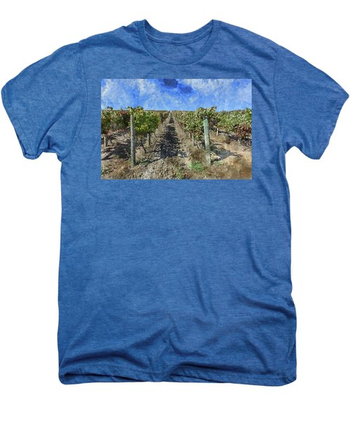 Napa Valley Vineyard - Rows Of Grapes Men's Premium T-Shirt