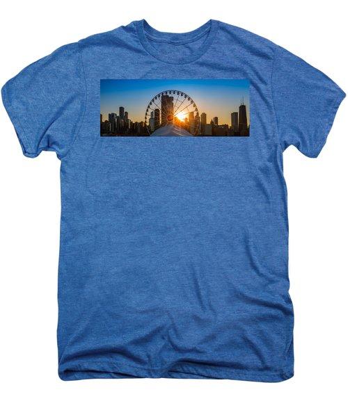 Navy Pier Sundown Chicago Men's Premium T-Shirt by Steve Gadomski