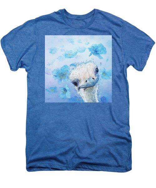 Ostrich In A Field Of Poppies Men's Premium T-Shirt by Jan Matson