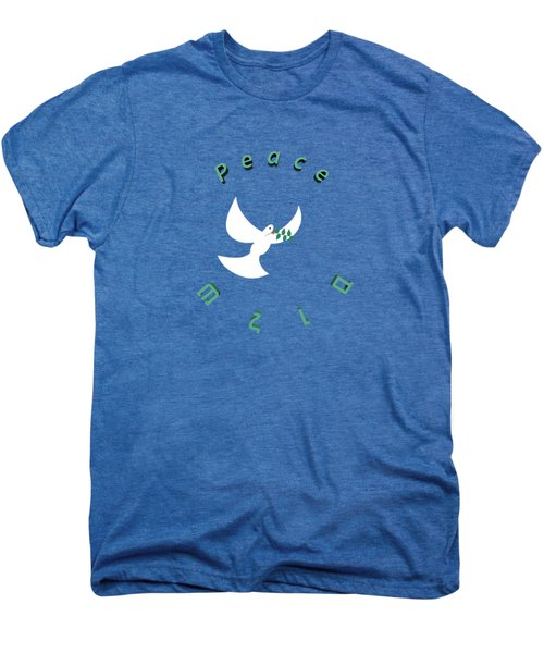 Peace In English And Hebrew With White Dove And Olive Leaf  Men's Premium T-Shirt