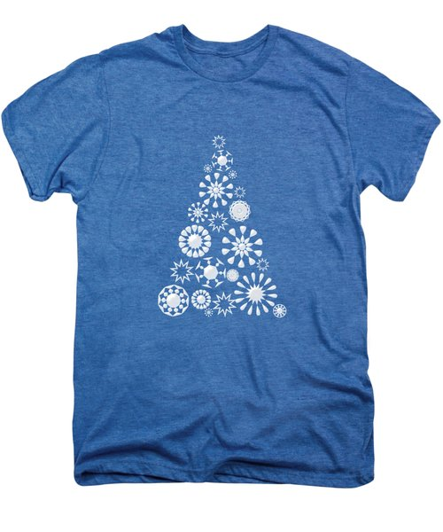 Pine Tree Snowflakes - Dark Blue Men's Premium T-Shirt