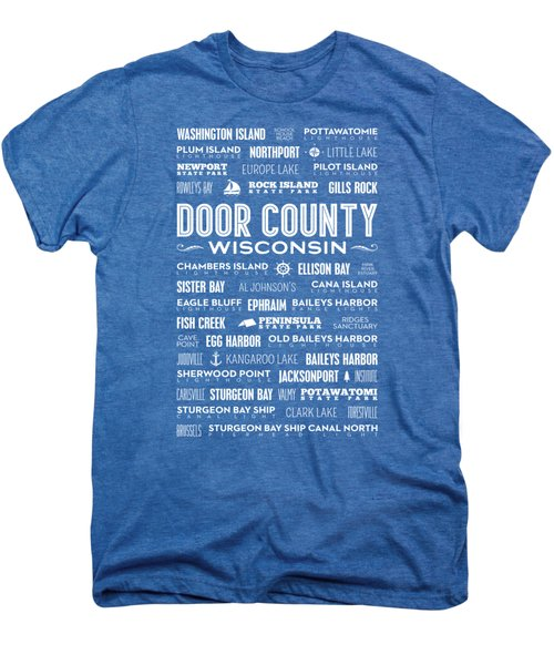 Places Of Door County On Blue Men's Premium T-Shirt by Christopher Arndt