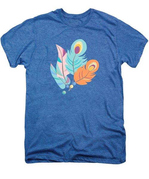 Pretty Boho Peacock Feather Pattern Men's Premium T-Shirt