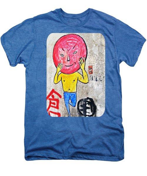 Red Head In Blue Tights Men's Premium T-Shirt by Ethna Gillespie