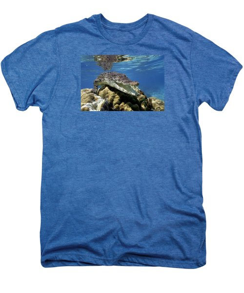 Saltwater Crocodile Smile Men's Premium T-Shirt by Mike Parry