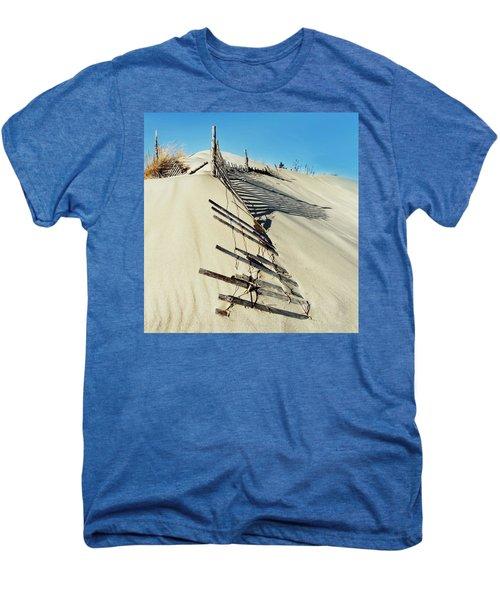 Sand Dune Fences And Shadows Men's Premium T-Shirt