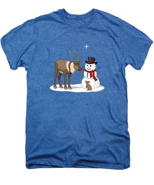 Santa Reindeer And Snowman Men's Premium T-Shirt