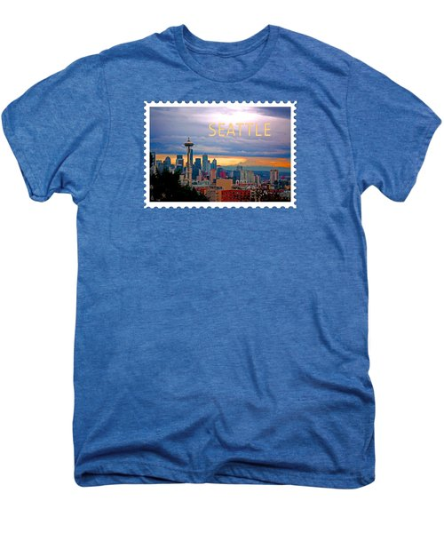 Seattle At Sunset Text Seattle Men's Premium T-Shirt by Elaine Plesser