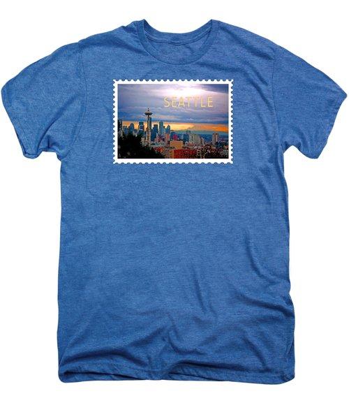 Seattle At Sunset Text Seattle Men's Premium T-Shirt